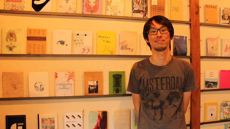 Mr. Sakurai who runs one of the few stores specializing in ZINE in Meguro, Japan