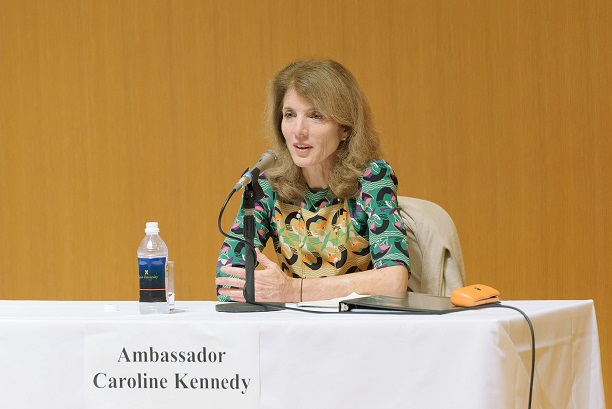 The 29th U.S. ambassador to Japan Caroline Kennedy, talks with Keio students, July 6, 2015, at the North Building Hall of Keio University, Mita Campus. (Susumu Ishito)