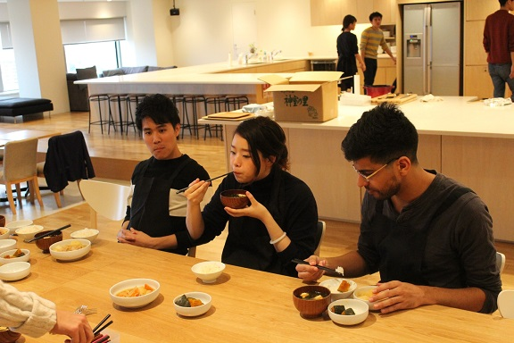 Exchange students enjoyed Japanese familiar meals.  Picture: Mita campus